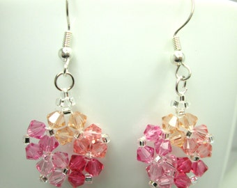 Pink flower swarovski earrings, swarovski elements, pink earrings, summer earrings, spring earrings, pink and peach, bicone earrings ER019