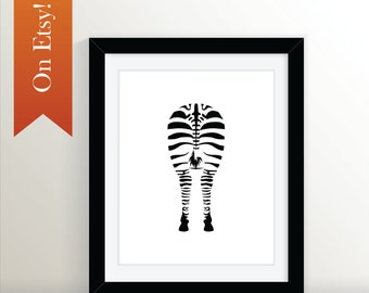 Zebra Derriere 8x10: Black and White, Zebra Art, Three Print Set, Zebra, Animal Art