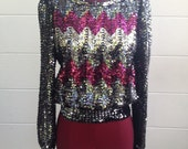 RESERVED FOR CARIE! Vintage 1970's Partique New York Sequin Chevron Sweater