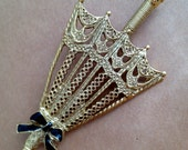 Vintage Gold-Toned Umbrella Brooch with Black Accents