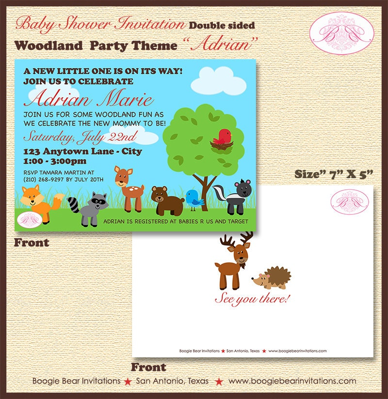 Woodland Animals Baby Shower Invitation by BoogieBearInvitation