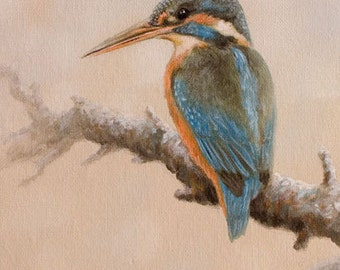 Aceo Bird Print, Kingfisher. From an Original Painting by JOHN SILVER. Personally signed. BD005AC