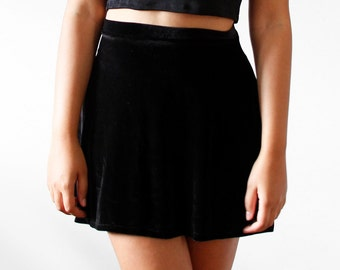 Velvet Skater Skirt (MANY COLORS, Made to Order)