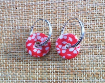 Red Flower Porcelain Earrings with Sterling Silver Hoops!