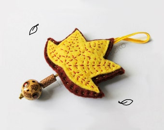 Fall leaf ornament, felt woodland baby shower decoration, nursery and home decor, ethnic and boho style, made to order