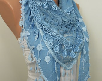 Lace Scarf Shawl Blue Wedding Spring Summer Fall Winter Women Fashion Accessories Bridesmaids Gifts Holiday Christmas Gift Ideas For Her
