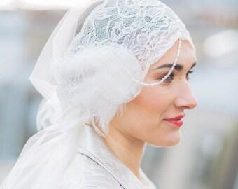 Passiflore bridal veil - wedding hair accessory - Lace - Silk tulle - Sautoir et  Poudrier