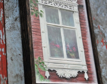 Russian decorative dacha window. Original Encaustic Photography. Rostov, Russia. Rustic. Brown, white. Pink flowers.Framed 5x7