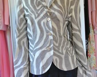 Louis Feraud Blazer Designer Jacket Career Abstract Suit Top Size 48/ L