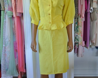 Ungaro 2 Piece Dress Suit Outfit Career Peplum Yellow Made in Italy Emanuel Ungaro Solo Donna Paris Size 14/48