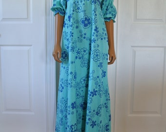 1970s Hippie Dress Made in Hawaii Floral Resort Boho Maxi Blue Empire Waist and Poet Puff Sleeves/S