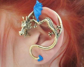 The blue antique bronze dragon ear cuff earring