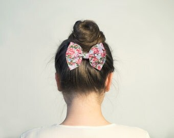 Floral Hair Bow. Pink Roses Hair Bow Barrette or Hair Tie. Floral Bow Brooch.