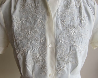 Vintage 50s Asian NOS Ivory Silk Embroidered Short Sleeve Blouse - Intricate Embroidered Front Neck and Sleeves New Old Stock