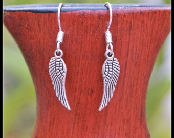 Angel Wings earrings, Silver earrings, Metal wings earrings
