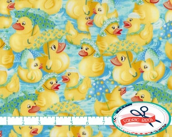 RAINY DAY DUCK Fabric by the Yard, Fat Quarter Rubber Duck Fabric Nursery Fabric Apparel Fabric Quilting Fabric 100% Cotton Fabric t5-38