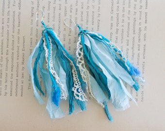 Blue Sari Silk Earrings with Crystal and Vintage Lace