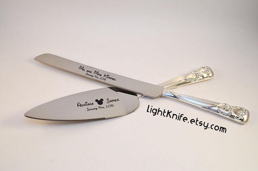 Disney Wedding Black Engraved Wedding Cake Knife And Serving