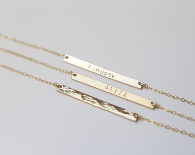 Ultimate skinny name bar necklace -Gold filled or Sterling silver //personalized jewelry //valentines gift