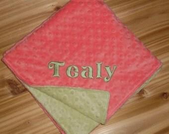 Coral & Mint Minky Baby Blanket - Custom Monogram