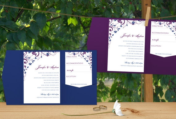 Purple And Blue Wedding Invitations: Pocket Wedding Invitation Template Set DOWNLOAD By