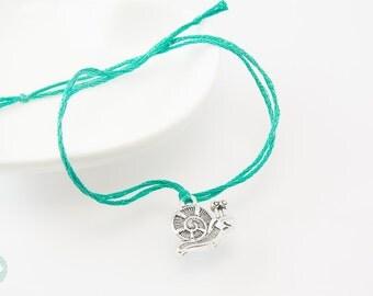 Snail bracelet, wish bracelet, cord bracelet, cute bracelet, friendship bracelet, gift for her, mother and daughter , charm bracelet, snail