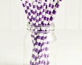 Paper Straws in Royal Purple & White Sailor Stripes - Set of 25 - Plum Dark Unique Pretty Wedding Birthday Party Shower Accessories Decor
