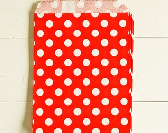 Paper Bags in Red & White Polka Dots - Set of 20 - 5x7 Party Favor Kraft Gift Wrapping Invitations Packaging Classic Merchandise