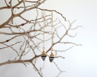 Shell Drop Earrings, Gold Filled, Pyrene, Black and White