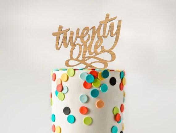 Laser Cut Bamboo Wood 'Twenty One' 21st Birthday Cake