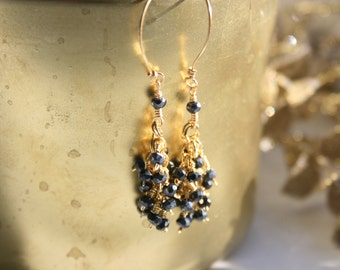 Dangle Earrings, Sparkly Black Spinel Cluster Earrings, Black and Gold, Sparkly Earrings, Simple, Boho, Versatile, TheStudioAtPennyLane