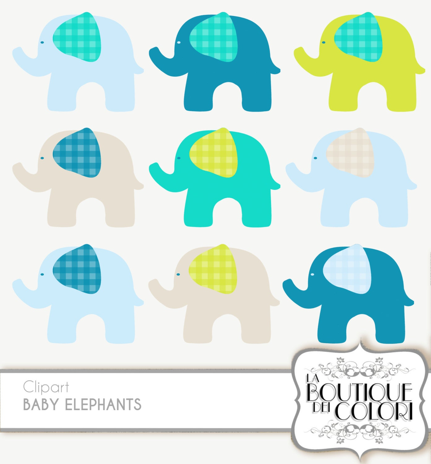 Cute Baby Elephants Clipart. Clip Art Pack by ...