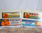 Set of 4 brightly colored George Peach labels; vintage and unused, ephemera