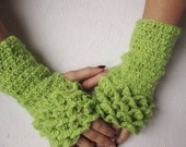 Fingerless gloves, Crocheted Gloves, Arm Warmers,  green Accessory,winter accessory