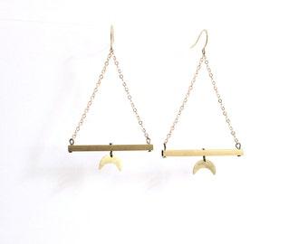 GEOMETRIC BRASS EARRINGS - Raw brass rectangular tube/Hammered crescent moon/Brass hooks