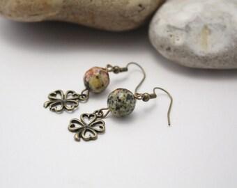 Beaded earrings, stone earrings, natural stone, jasper earrings, semi precious stone, clover earrings, faceted jasper beads, beaded jewelry