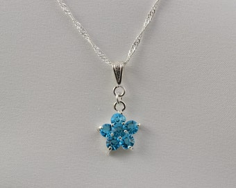 Blue Flower Necklace, Aquamarine Pendant, Cubic Zirconia, Blue Bridesmaid, Anniversary Gift, Flower Girl, Maid of Honor, Cinderella, N1230