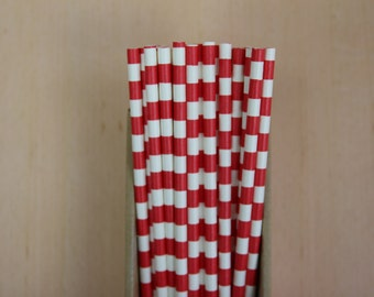 25 red sailor striped straws (PS0119)  - party straws