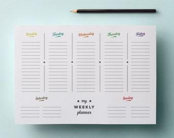 Printable Weekly Planner - Simple Retro - PDF File