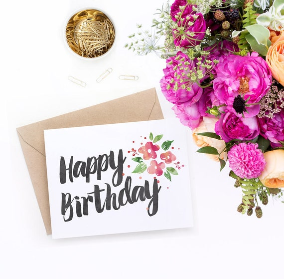 Printable Birthday Card For Her Watercolour Florals PDF – Birthday Card Pdf