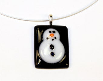 Handmade Fused Glass Necklace - Snowman Fused Glass Pendant w/ White Neckwire