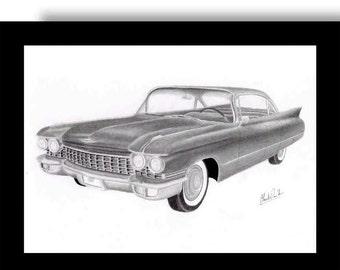 Car art Pencil drawing of a 1960 Cadillac Sedan de Ville