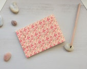 Japanese handbound notebook printed with a pink floral pattern, Pocket size, choose your paper, for drawing or writing