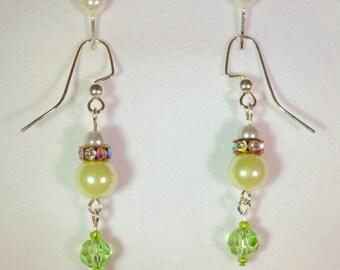 "Earrings, ""Pearl Drop""  Lt. green  Item #107-SE"