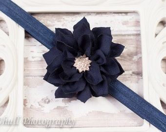 Baby Headband, Navy Blue Flower Headband, Navy Blue Baby Headband, Girls Headband, Newborn Headband, Baby Girl Headband, Headband