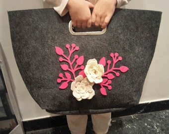 felt bag with roses and handmade Italian branch