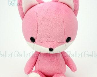 "Bellzi® Cute ""Pink"" w/ White Contrast Fox Stuffed Animal Plush - Foxxi"
