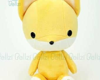 "Bellzi® Cute ""Yellow"" w/ White Contrast Fox Stuffed Animal Plush - Foxxi"