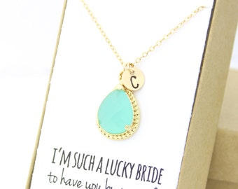 Mint Green / Gold Rope Rim Necklace - Mint Opal Necklace -Personalized Bridesmaid Necklace - Bridesmaid Gift -Mint Bridesmaid Jewelry NR1
