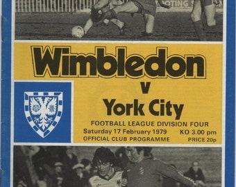 Vintage Football (soccer) Programme - Wimbledon v York City, 1978/79 season
